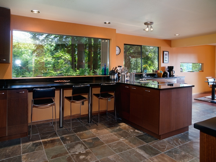 Exceptional Kitchen Green Remodel Breakfast Bar Pictures