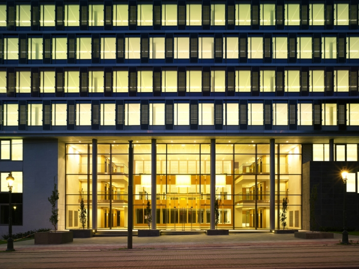 office building facade. solaris brussels south facade evening building integrated photovoltaics office o