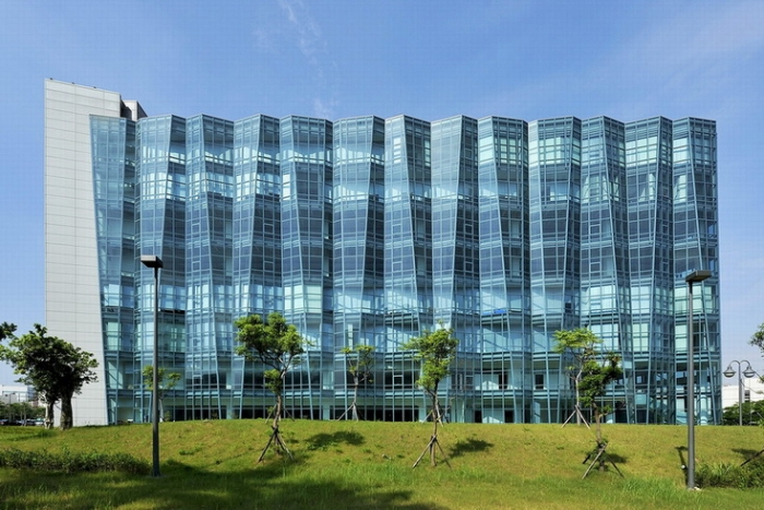 The Neo Solar Power Corporation headquarters building is topped with ...