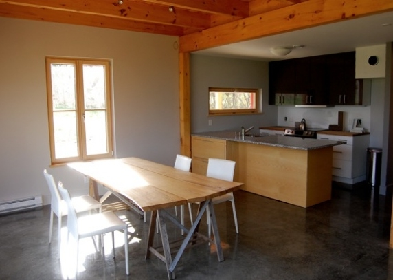 The GO Home Is A Passive, Zero Energy House In Belfast, Maine, That  Includes Stained Concrete, Wood, Linoleum Or Cork Floors, As Well As  Built In ...