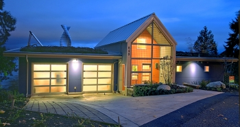 Bass Cove Zero Energy House at Night (Washington, USA)