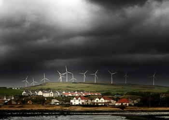 Ardrossan Wind Farm with Storm Clouds