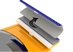 Shelf Solar Vehicle Screen Folding into Wing