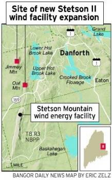 Stetson Wind Farm in Maine Map