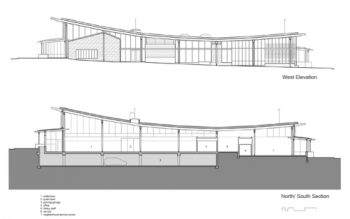 Ballard Library Section and West Elevation