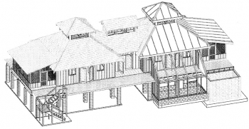 Florida Solar Cracker House 3-D Illustration