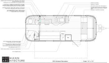Airstream 1972 Renovation Floor Plan Labeled
