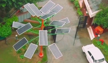 Solar Power Tree from Above in India
